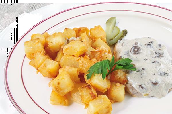 Курица на пару под грибным соусом с картофелем У Палыча